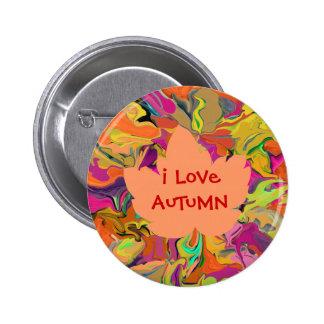 autumn maple leaf 6 cm round badge