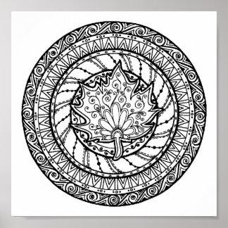 Autumn Maple Leaf Doodle 2 Poster