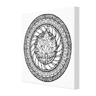 Autumn Maple Leaf Doodle 6 Gallery Wrapped Canvas
