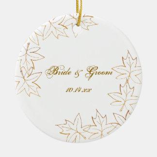 Autumn Maple Leaf Edge Wedding Christmas Ornament
