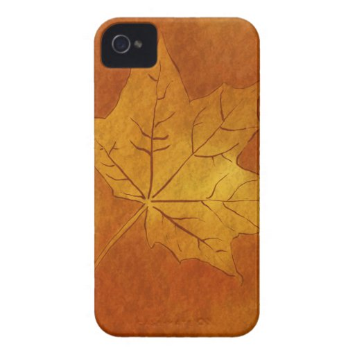Autumn Maple Leaf in Gold iPhone 4 Case