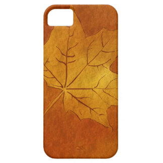 Autumn Maple Leaf in Gold iPhone 5 Cases