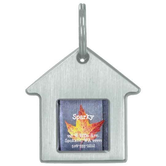 Autumn Maple Leaf Pet Name Tag