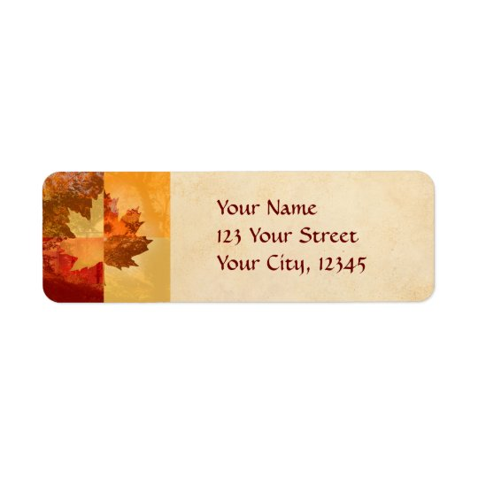 Autumn, Maple Leaf Return Address Label