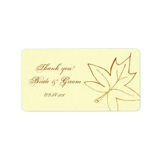 Autumn Maple Leaf Wedding Thank You Favor Tag Address Label