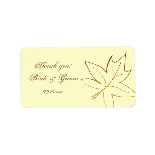 Autumn Maple Leaf Wedding Thank You Favour Tag Address Label