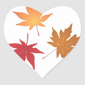 Autumn Maple Leaves Collection Wedding Hearts Sticker