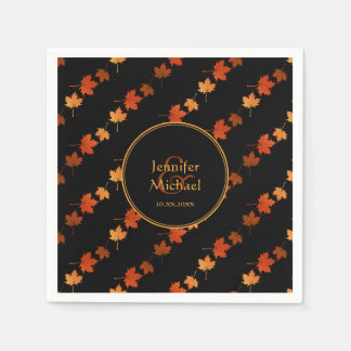 Autumn maple leaves fall stripes pattern disposable serviette
