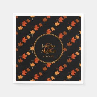 Autumn maple leaves fall stripes pattern paper napkin