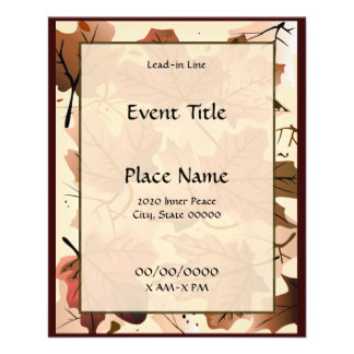 Autumn Maple Leaves Forest Floor Small Event Flyer
