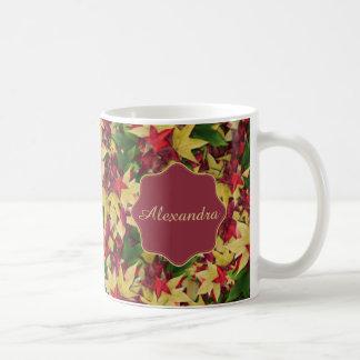 Autumn maple leaves name coffee mug