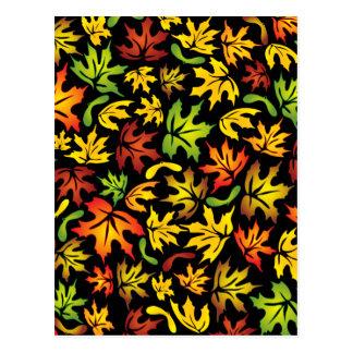 autumn maple leaves postcard