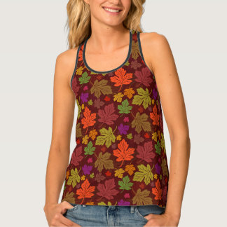Autumn Maple Leaves Pretty Colorful Fall Foliage Tank Top