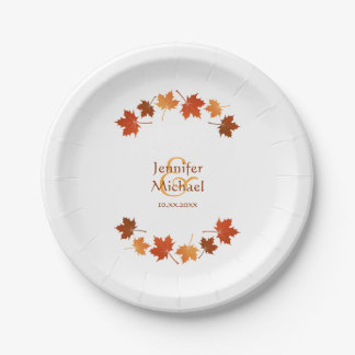 autumn maple leaves rustic fall wedding paper plate
