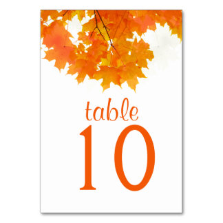 Autumn Maple Leaves Table Card