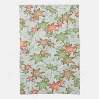 Autumn maple leaves tea towel