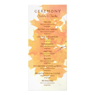 Autumn Maple Leaves Wedding Program Rack Card