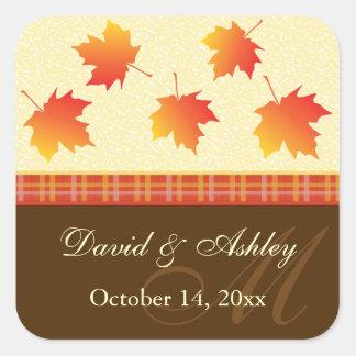 Autumn Maple Leaves Wedding Square Sticker