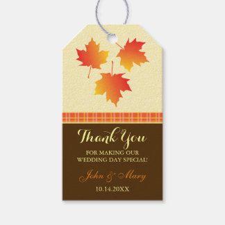 Autumn Maple Leaves Wedding Thank You Gift Tags
