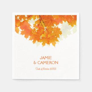 Autumn Maple Leaves Wedding Wedding Napkin Paper Napkin