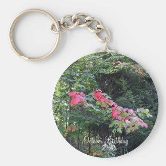 Autumn Maple Trees Basic Round Button Key Ring