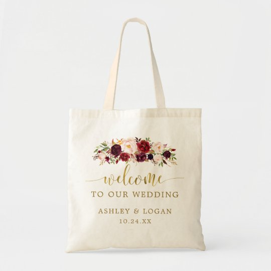 Autumn Maroon Floral Wedding Welcome Gift Tote Bag