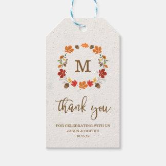 Autumn Monogram Wreath Thank You Gift Tags