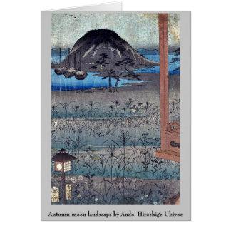 Autumn moon landscape by Ando, Hiroshige Ukiyoe Greeting Card