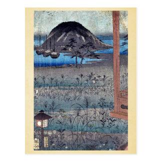 Autumn moon landscape by Ando, Hiroshige Ukiyoe Post Cards