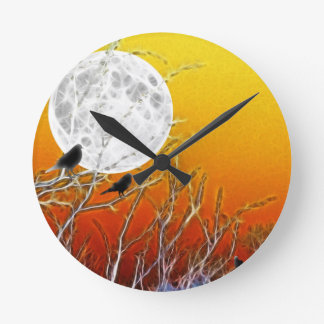 Autumn Moon Round Clock