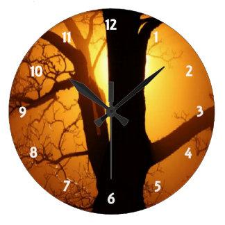 Autumn Moon Shining Through the Tree Wall Clock