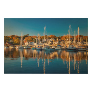 Autumn Morning In The Camden Harbor, Camden 2 Wood Canvases