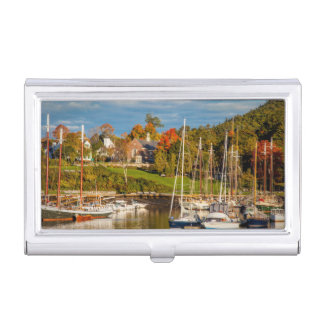 Autumn Morning In The Camden Harbor, Camden Business Card Holder