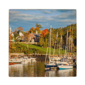 Autumn Morning In The Camden Harbor, Camden Wood Coaster