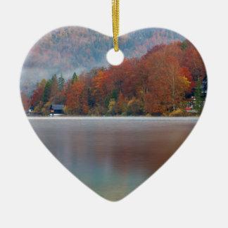 Autumn morning over Lake Bohinj Ceramic Heart Decoration