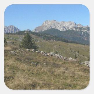 Autumn mountan view square sticker