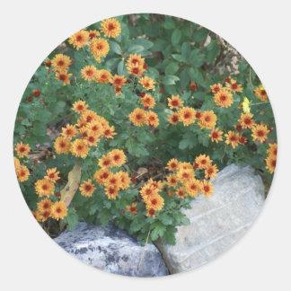 Autumn Mums Round Sticker