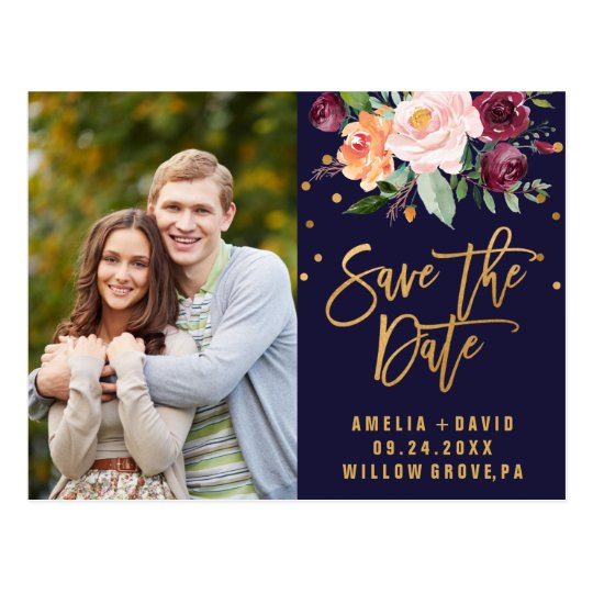 Autumn Navy and Gold Save the Date Photo