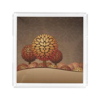 Autumn Night Landscape. Abstract Acrylic Tray