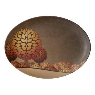 Autumn Night Landscape. Abstract Porcelain Serving Platter