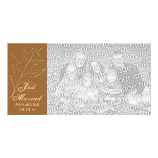 Autumn Oak Leaf Just Married Photo Card