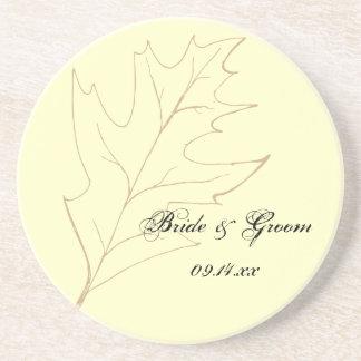 Autumn Oak Leaf Wedding Drink Coaster