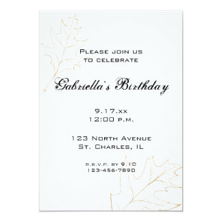 Autumn Oak Leaves Birthday Party Invitation