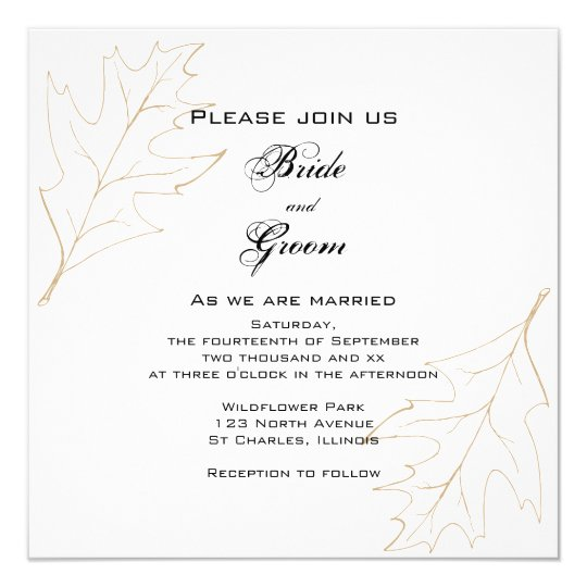 Autumn Oak Leaves Wedding Invitation