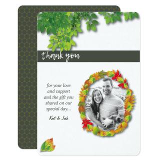 Autumn Oak Oval Wreath Thank You Card
