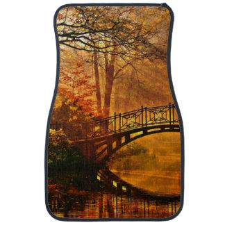 Autumn - Old bridge in autumn misty park Car Mat