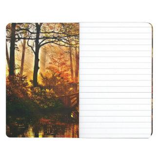 Autumn - Old bridge in autumn misty park Journal