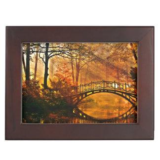 Autumn - Old bridge in autumn misty park Memory Box