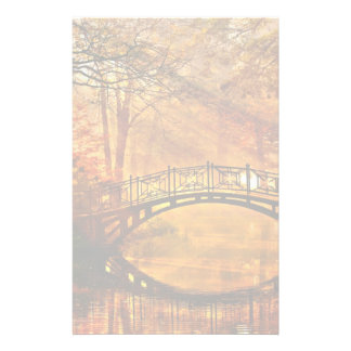 Autumn - Old bridge in autumn misty park Personalized Stationery