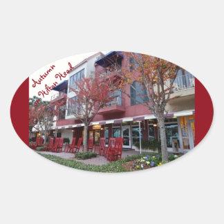 Autumn On Hilton Head Island - Harbour Town Shops Oval Sticker